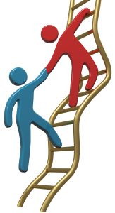 Person helping friend or partner join to climb up the golden ladder of success